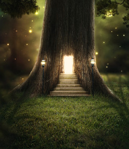 a-tree-in-the-forest-with-a-door-glowing-with-bright-lights_BjcZxZ5Uvx_thumb